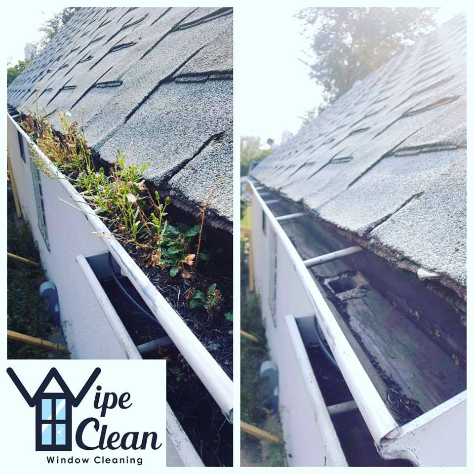 Before and After Gutter Cleaning in Calgary, Alberta by Wipe Clean